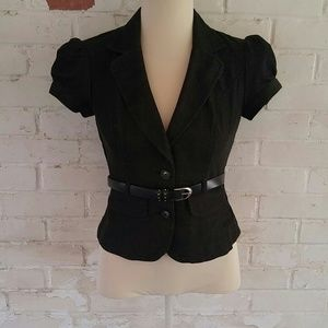 BWear charcoal short sleeved belted blazer size S